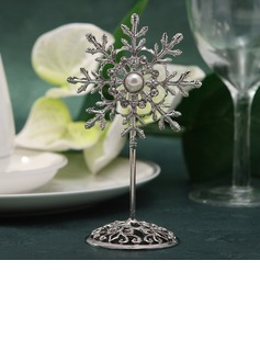 Snowflake Zinc Alloy Place Card Holders With Pearl