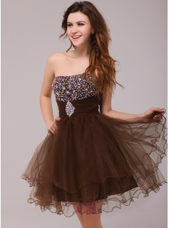 A-Line/Princess Sweetheart Short/Mini Tulle Cocktail Dress With Ruffle Beading