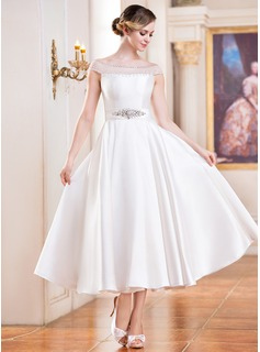 A-Line/Princess Off-the-Shoulder Tea-Length Satin Tulle Wedding Dress With Beading Sequins