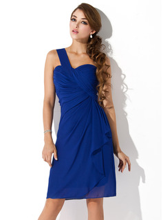Sheath One-Shoulder Knee-Length Chiffon Homecoming Dress With Ruffle (022010850)