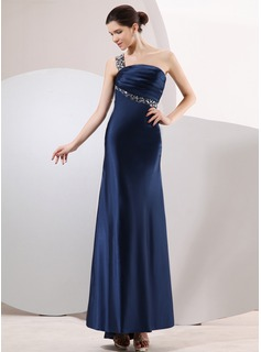 Sheath One-Shoulder Asymmetrical Charmeuse Evening Dress With Ruffle Beading