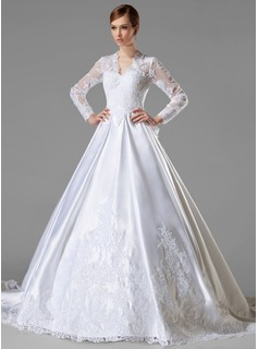 Ball-Gown V-neck Chapel Train Satin Wedding Dress With Ruffle Lace