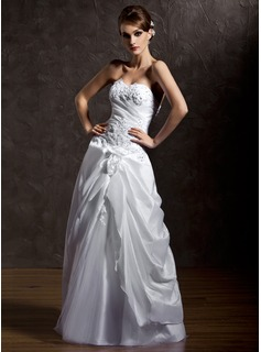 A-Line/Princess Sweetheart Floor-Length Taffeta Tulle Wedding Dress With Ruffle Beading Appliques Lace Flower(s)