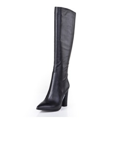 Real Leather Chunky Heel Pumps Closed Toe Knee High Boots With Buckle Zipper shoes