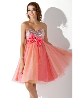 Empire Sweetheart Knee-Length Satin Tulle Sequined Homecoming Dress With Beading Bow(s)