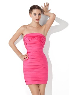 Sheath Strapless Short/Mini Satin Cocktail Dress With Ruffle