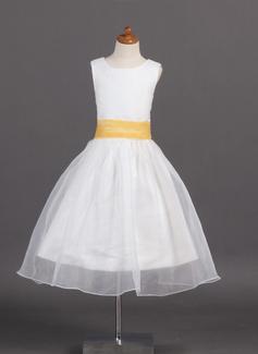 Corte A/Princesa Escote redondo Té de longitud Organdí Satén Vestido para niña de arras con Fajas