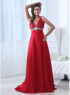 A-Line/Princess V-neck Court Train Chiffon Prom Dress With Ruffle Beading