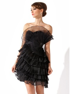 Sheath Scalloped Neck Short/Mini Organza Cocktail Dress With Ruffle Beading (016008258)