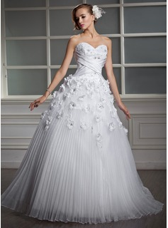 Ball-Gown Sweetheart Floor-Length Organza Satin Wedding Dress With Lace Beading Flower(s) Pleated