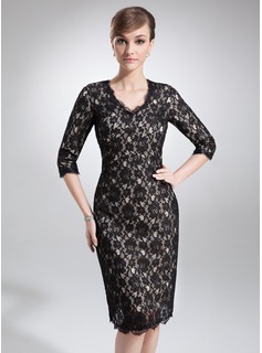Sheath/Column V-neck Knee-Length Charmeuse Lace Mother of the Bride Dress