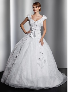 Ball-Gown V-neck Court Train Organza Satin Wedding Dress With Lace Beading Flower(s) Bow(s)