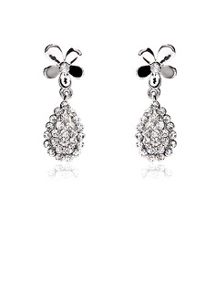 Earrings Anniversary Wedding Engagement Birthday Gift Party Daily Alloy With Rhinestones Silver Jewelry With Rhinestone (011017673)