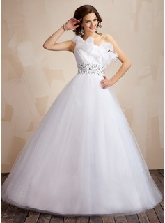 Ball-Gown One-Shoulder Floor-Length Organza Tulle Quinceanera Dress With Ruffle Beading Sequins