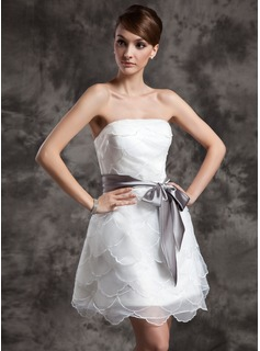 A-Line/Princess Strapless Short/Mini Organza Charmeuse Wedding Dress With Ruffle Sash Bow(s)
