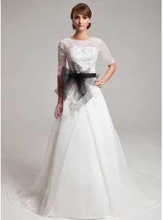 A-Line/Princess Scoop Neck Court Train Organza Lace Wedding Dress With Sashes Beadwork (002004752)