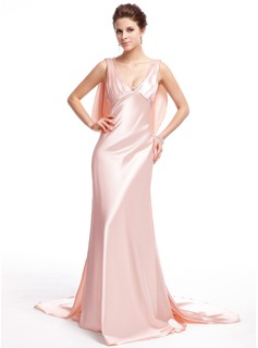 Sheath V-neck Watteau Train Tulle Charmeuse Evening Dress With Lace Beading