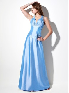 A-Line/Princess Sweetheart Floor-Length Taffeta Evening Dress With Ruffle Beading