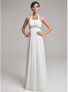 Empire Halter Floor-Length Chiffon Wedding Dress With Ruffle Beadwork Sequins (002012638)