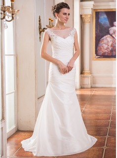 Trumpet/Mermaid Scoop Neck Sweep Train Taffeta Tulle Wedding Dress With Ruffle Lace Beading Sequins