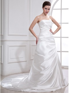 A-Line/Princess Strapless Cathedral Train Charmeuse Wedding Dress With Ruffle Appliques Lace