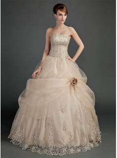 Ball-Gown Strapless Floor-Length Organza Satin Wedding Dress With Ruffle Lace Beadwork Flower(s) (002012000)
