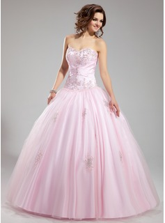 Ball-Gown Sweetheart Floor-Length Satin Tulle Wedding Dress With Ruffle Lace Beading