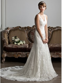 Mermaid V-neck Chapel Train Satin Tulle Wedding Dress With Ruffle Lace
