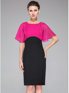 Empire Scoop Neck Knee-Length Chiffon Cocktail Dress