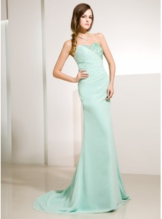 Sheath Sweetheart Sweep Train Chiffon Holiday Dress With Ruffle Lace Beading Sequins (020014220)