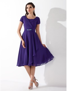 A-Line/Princess Square Neckline Tea-Length Chiffon Homecoming Dress With Ruffle Beading (022010473)