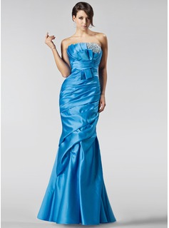Mermaid Scalloped Neck Floor-Length Satin Holiday Dress With Ruffle Beading Sequins