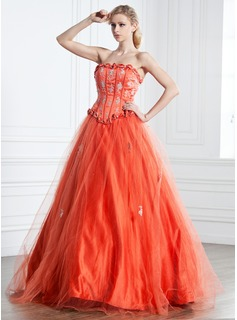 Ball-Gown Strapless Floor-Length Tulle Charmeuse Quinceanera Dress With Ruffle Lace Beading