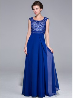 A-Line/Princess Scoop Neck Floor-Length Chiffon Charmeuse Mother of the Bride Dress With Lace Beading