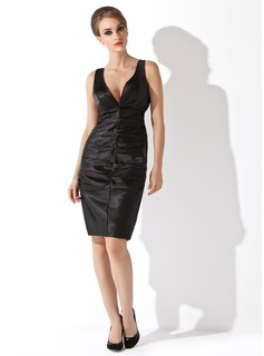 Sheath V-neck Knee-Length Satin Cocktail Dress With Ruffle