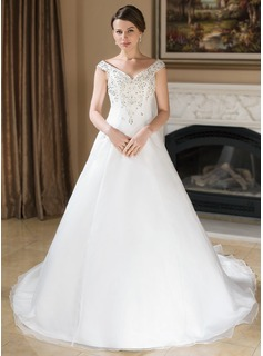 A-Line/Princess Off-the-Shoulder Chapel Train Organza Satin Wedding Dress With Embroidery Beadwork Sequins
