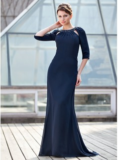 Trumpet/Mermaid Scoop Neck Sweep Train Chiffon Mother of the Bride Dress With Ruffle Beading