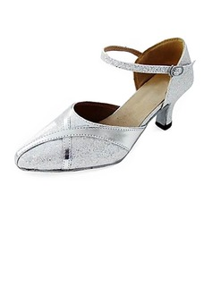 Leatherette Sparkling Glitter Heels Pumps Modern Dance Shoes With Ankle Strap (053013152)
