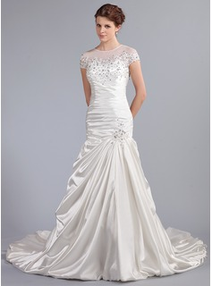 Mermaid Scoop Neck Cathedral Train Satin Tulle Wedding Dress With Ruffle Lace Beadwork Sequins