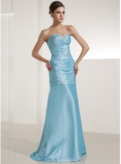 A-Line/Princess Sweetheart Floor-Length Taffeta Evening Dress With Ruffle Beading Sequins