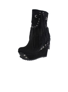 Real Leather Wedge Heel Mid-Calf Boots With Tassel shoes (088040443)