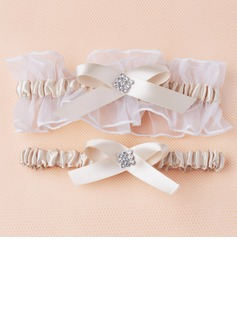 2-Piece/Elegant Satin/Organza With Rhinestone Wedding Garters