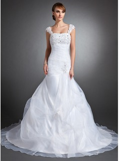 Mermaid Sweetheart Chapel Train Organza Satin Wedding Dress With Ruffle Lace Beadwork Sequins