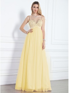 Empire Sweetheart Floor-Length Satin Tulle Evening Dress With Beading Sequins