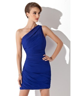 Sheath One-Shoulder Short/Mini Chiffon Cocktail Dress With Ruffle (016008436)