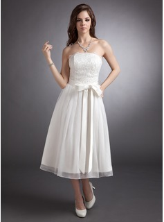 A-Line/Princess Strapless Tea-Length Chiffon Satin Lace Wedding Dress With Bow