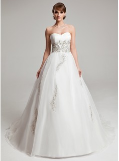 Ball-Gown Sweetheart Court Train Organza Wedding Dress With Beading Appliques Lace