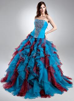 Corte de baile Escote corazón Barrer de tren Organdí Satén Vestido de quinceañera con Bordado Cascada de volantes