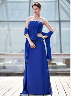 Sheath Strapless Sweep Train Chiffon Mother of the Bride Dress With Ruffle Lace Beading