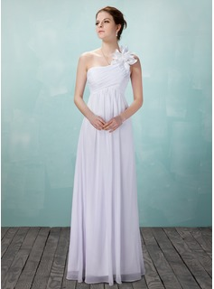Empire One-Shoulder Floor-Length Chiffon Wedding Dress With Ruffle Flower